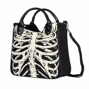 Women Skeleton Bones Skull Design Handbag/Tote